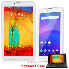 """White 7"""" Android 9.0 Pie QuadCore Tablet PC HDMI Dual Cam + Keyboard Case Bundle"""