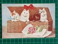 1900`s Antique Fantasy Postcard Black White Cats in Basket Rose Good Wishes Used