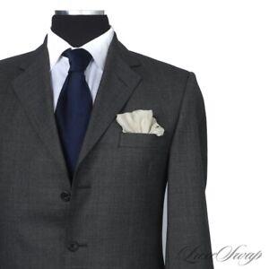 #1 MENSWEAR Ede & Ravenscroft England Charcoal Crisp Nailhead 3 PIECE Suit 40