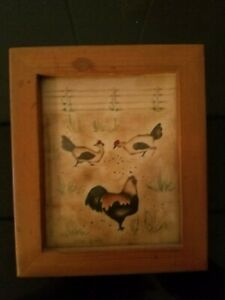 Jean Henry Theorem Painting - Original Art Wood Frame Chickens Rooster Farm
