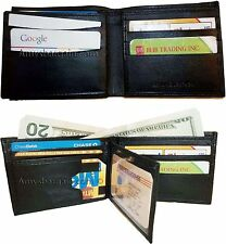 A lot of 2 New man's leather Black bi fold wallet 12 credit cards 2 billfolds ID