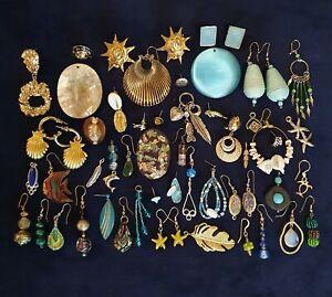 Vintage Retro Tribal Style Costume Jewellery Odd Earrings Craft Bits Joblot