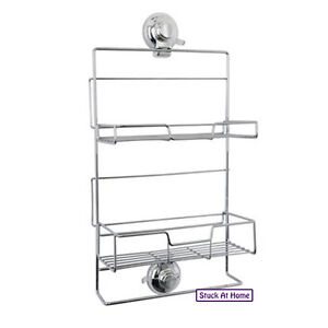 Naleon Super Suction Shower Caddy Chrome Wire - Bathroom Storage Caravan Rental
