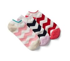 Gap Women Ankle Socks Pack of 3 Pink Red Blue Chevron Print Cotton Heel Grip New
