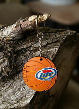 Miller Lite Beer Basketball Keychain Orange Rubber Keyring