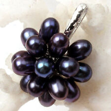 Fashion 6-7mm Genuine Black Freshwater Rice Pearl Flower 18KWGP Pendant Necklace