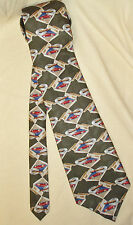 Prestige Olive Green Cigar Sports Car Corvette (?) 100% Silk Necktie Tie EUC