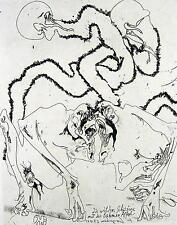 Horst Janssen (1929-1995) / Die wilden Schwänze mit den lahmen Affen / Radierung