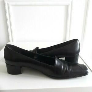 JONES Black Leather square toe low block heel court shoes heels work Sz 4 / 37