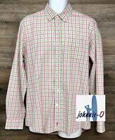 Johnnie-O Men's Cotton Pink Green Plaid Long Sleeve Button Down Casual Shirt L