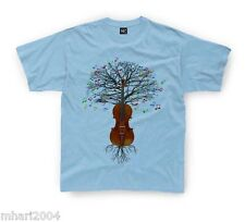 Violin T-shirt Fiddle Musical Tree in Kids sizes 1-2yr up to 11yr-12yr