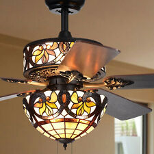 Floral Stained Glass Tiffany Style 5-Blade 52-Inch 6-Light Ceiling Fan