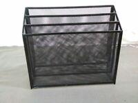Black Wire Mesh Desk paper file Metal 3 Compartment free standing organizer