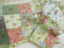 ❤️  3 BEAUTIFUL King quilted patchwork pink roses floral shams cottage CHIC ❤️