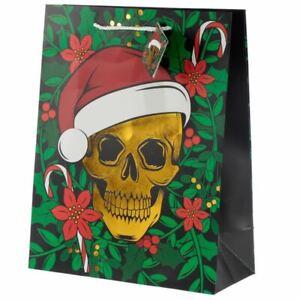 Christmas Skull Metallic Gift Bag - Large, Xmas Gift/Present/Stocking Filler
