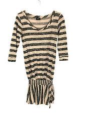 Olian Shirt Blouse Tunic Elastic Stretch Tie Black Tan Rayon Spandex Womens S