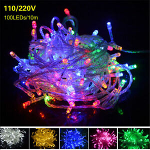 10M 100 LED US EU Plug Type String Fairy Light Strip Lamp Xmas Party Waterproof