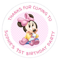 48 Personalised 1st Party Bag Stickers Minnie Mouse Sweet Bag Seals 40mm Labels