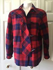 Womens Vtg Preppy 80s 1980s Tartan Plaid Red & Navy Blue wool blend jacket top