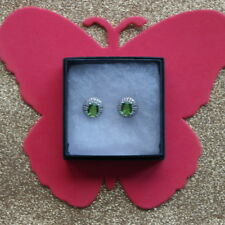 Beautiful Silver Erarrings With Green Peridot 3.1 Gr. 1.9 Cm. Wide In Gift Box