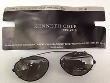 New Black Kenneth Cole Simple Delite Clip On Sunglasses UV400 Size 46