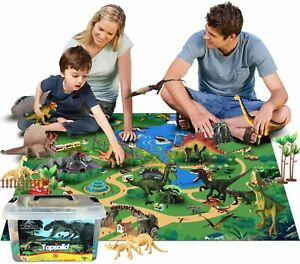 Kids Dinosaur Toys Figures with Large Play Mat Realistic Dinosaur Playset Gift