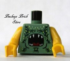 NEW Lego Male Boy MINIFIG TORSO - Sand Green Monster Animal Shark Teeth Pattern