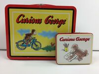 Curious George Bicycle Collectible Tin Lunch Box Mini Metal 1997 Vintage Set 2