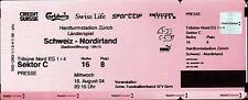 Ticket / Eintrittskarte 18.08.2004 Schweiz - Nordirland, Länderspiel in Zürich
