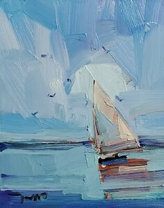 JOSE TRUJILLO Oil Painting IMPRESSIONISM CONTEMPORARY Seascape Sailboat Sea