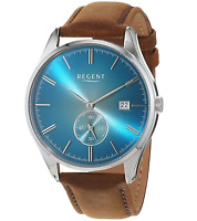 Regent - Men's Blue Dial Quartz Watch with Brown Leather Strap - 11110817