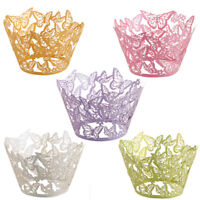 25/50/100 Laser Cut Cupcake Wrapper Liner Butterfly Paper Baking Cup Muffin UK