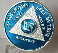 Blue Silver Plated 34 Year AA Chip Alcoholics Anonymous Medallion Coin