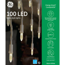 """NEW 6 Boxes -  GE 100-Count LED """"Energy Smart"""" Constant Warm White Icicle Lights"""
