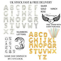Foil Balloons 16 Inch A - Z Large Letter Balloons in Gold & Silver Full Alphabet