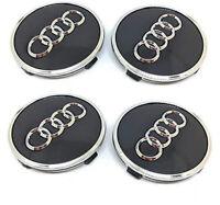4 Pcs 61mm AUDI Black Wheel Center Caps Logo Emblem Badge Hub Caps Rim Caps