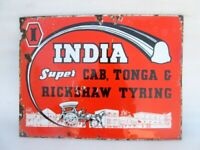 India Super Tyre Ad Porcelain Enamel Sign Board 1930's Vintage Old Collectible