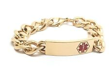 Surgical Stainless Steel Medical Alert ID Curb Chain Bracelet  Gold And Red Logo