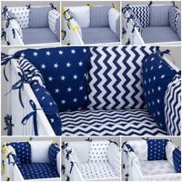 COT BED PILLOW BUMPER made form 6 cushions NAVY WHITE STARS CHEVRON STRIPES