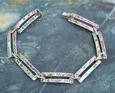 Mexico Sterling Silver Vintage Link Bracelet Abalone Shell Inlays Item V31