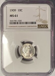 1909 BARBER DIME NGC MS61 — NO RESERVE!!