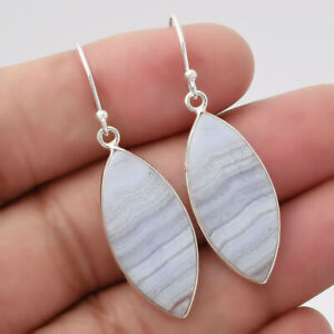 Blue Lace Agate - South Africa 925 Sterling Silver Earrings Jewelry E189