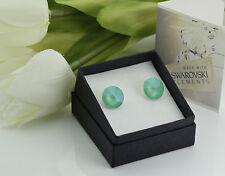 925 Silver Stud Earrings made with Swarovski Crystals 12mm Rivoli Mint Green