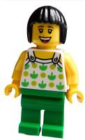 Lego Frau Haare in schwarz Beine grün Minifigur twn350 Legofigur Figur Town Neu