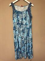 Joe Browns Blue Floral Vintage Look Dress Size 12 New