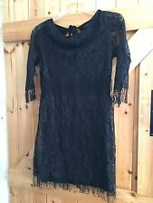 "Little Black Dress. Black Lace Dress With Tassels Chest 36"" Approx Size 12"