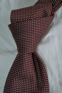 "$235 NWOT BRIONI Red w/ white grid dots men's 3.6"" handmade silk neck tie ITALY"