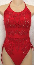 Ermanno Scervino Red  One Piece Halter Embroidered Cut Outs  F – 34 Us Xxs