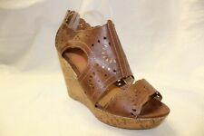 Women BROWN WOVEN WEDGES PLATFORM SHOES 8 NEW