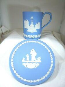 Wedgwood Jasperware England Mother 1974 Plate & Christmas 1971 England Mug